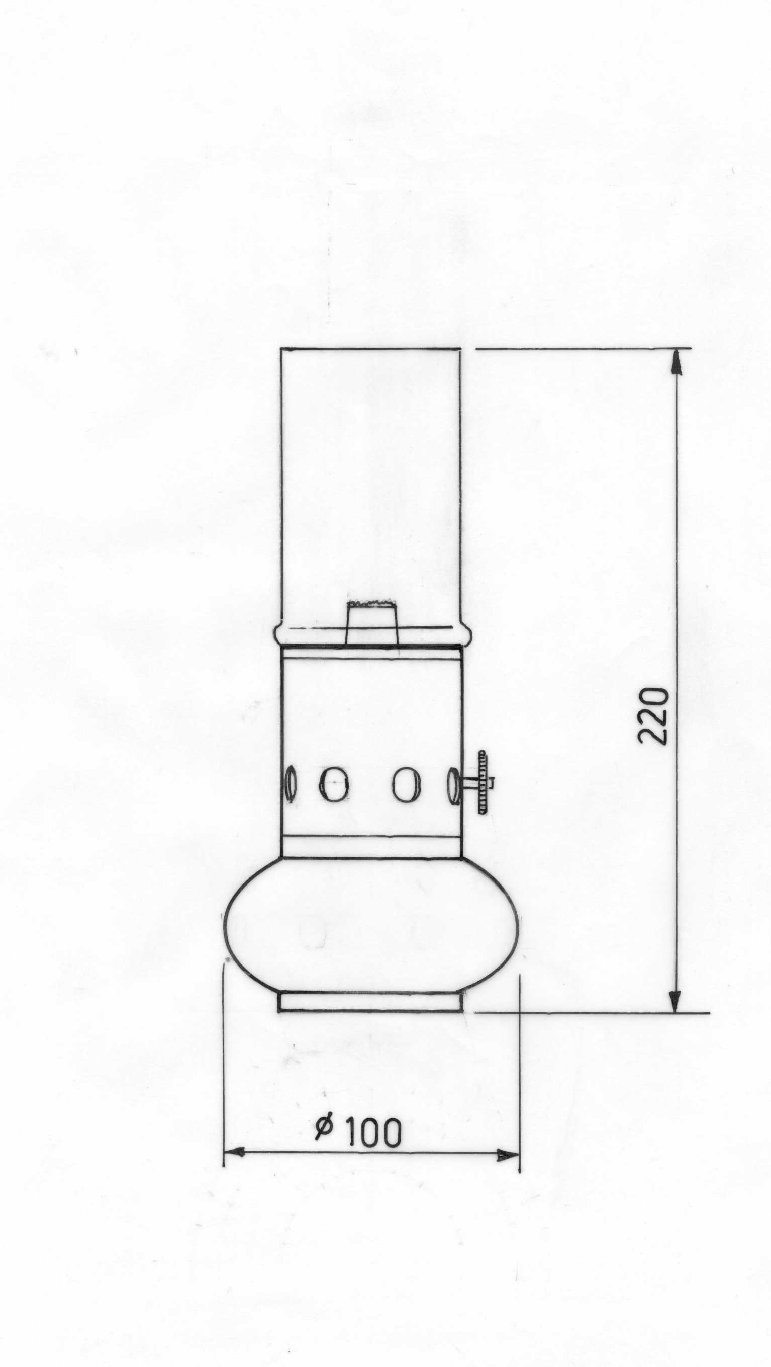 Table lamp for drawing - View Technical Drawing